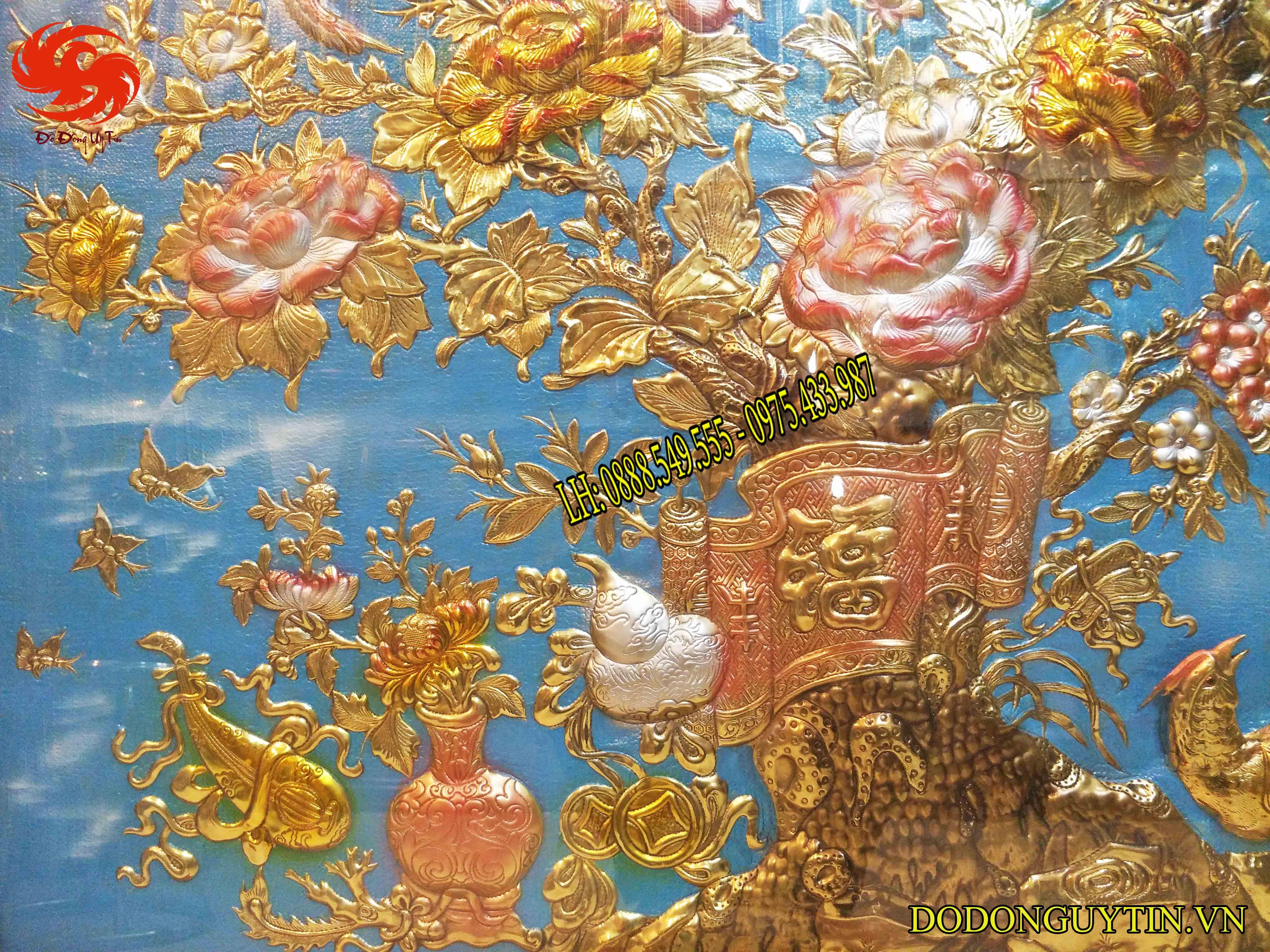 Tranh đồng Vinh hoa phú quý nền xanh
