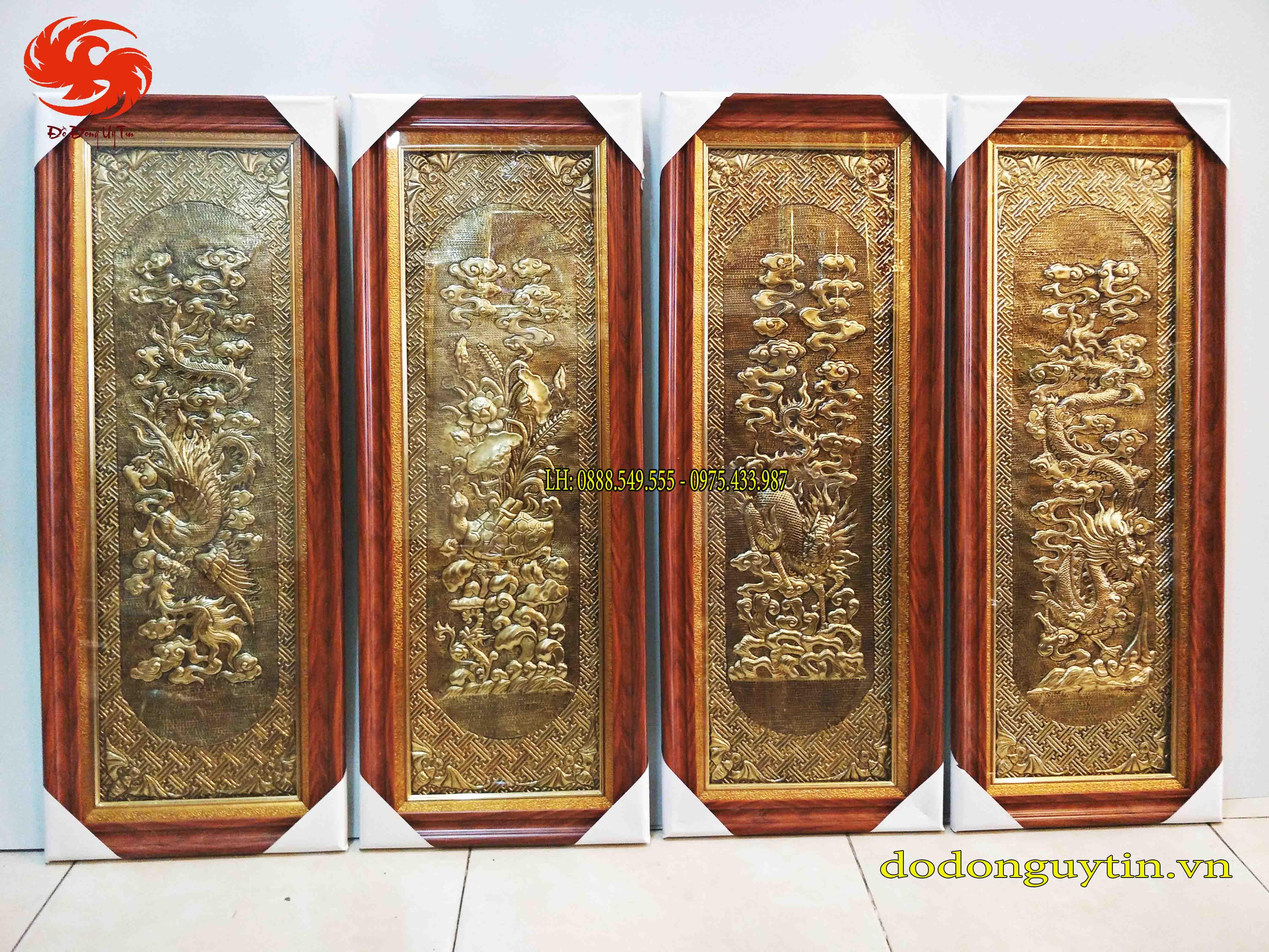 Bộ tranh đồng tứ quý - Tứ Linh tinh xảo 40cm x 100cm