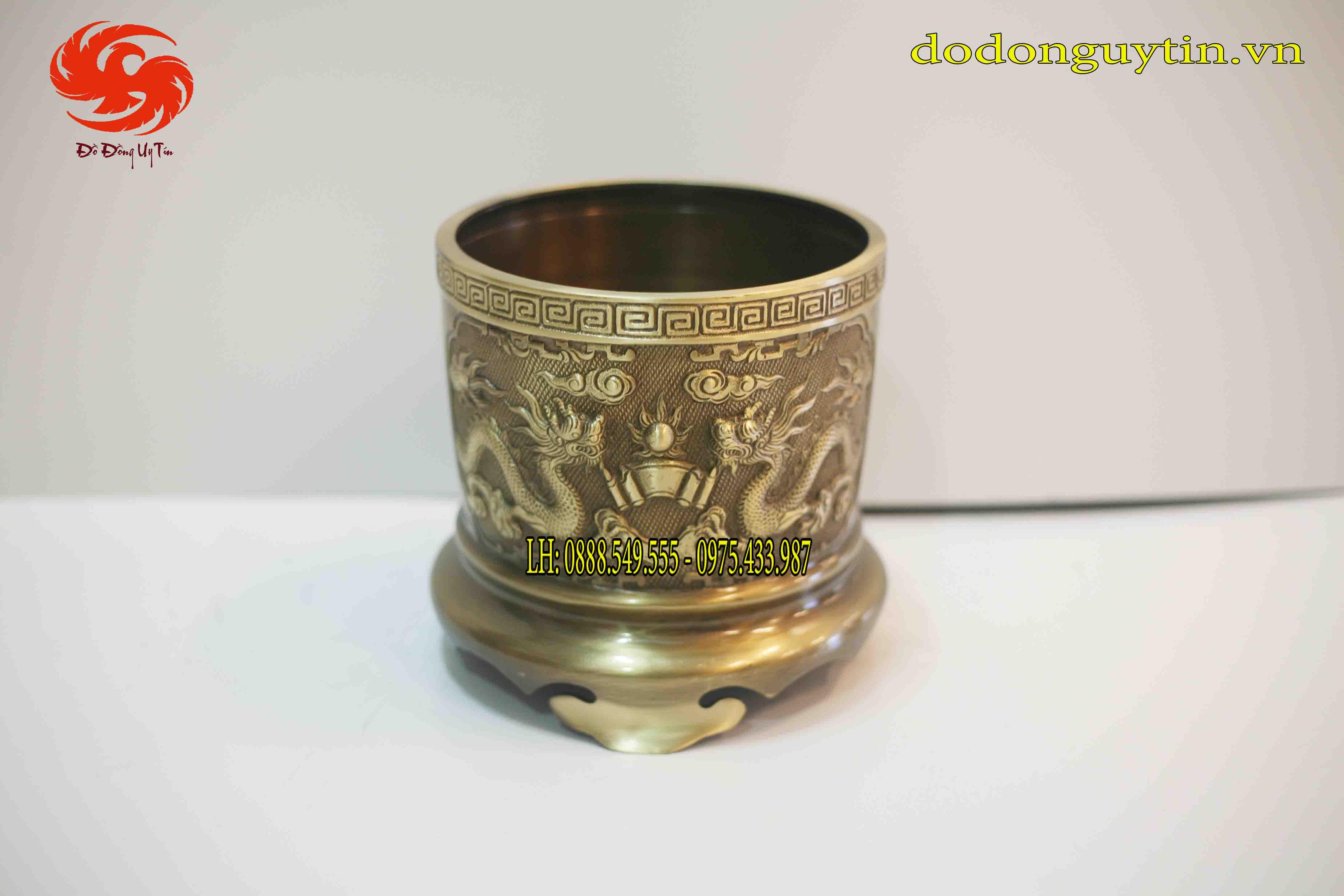 Bát hương đồng hun xanh họa tiết rồng phượng cao 20 cm