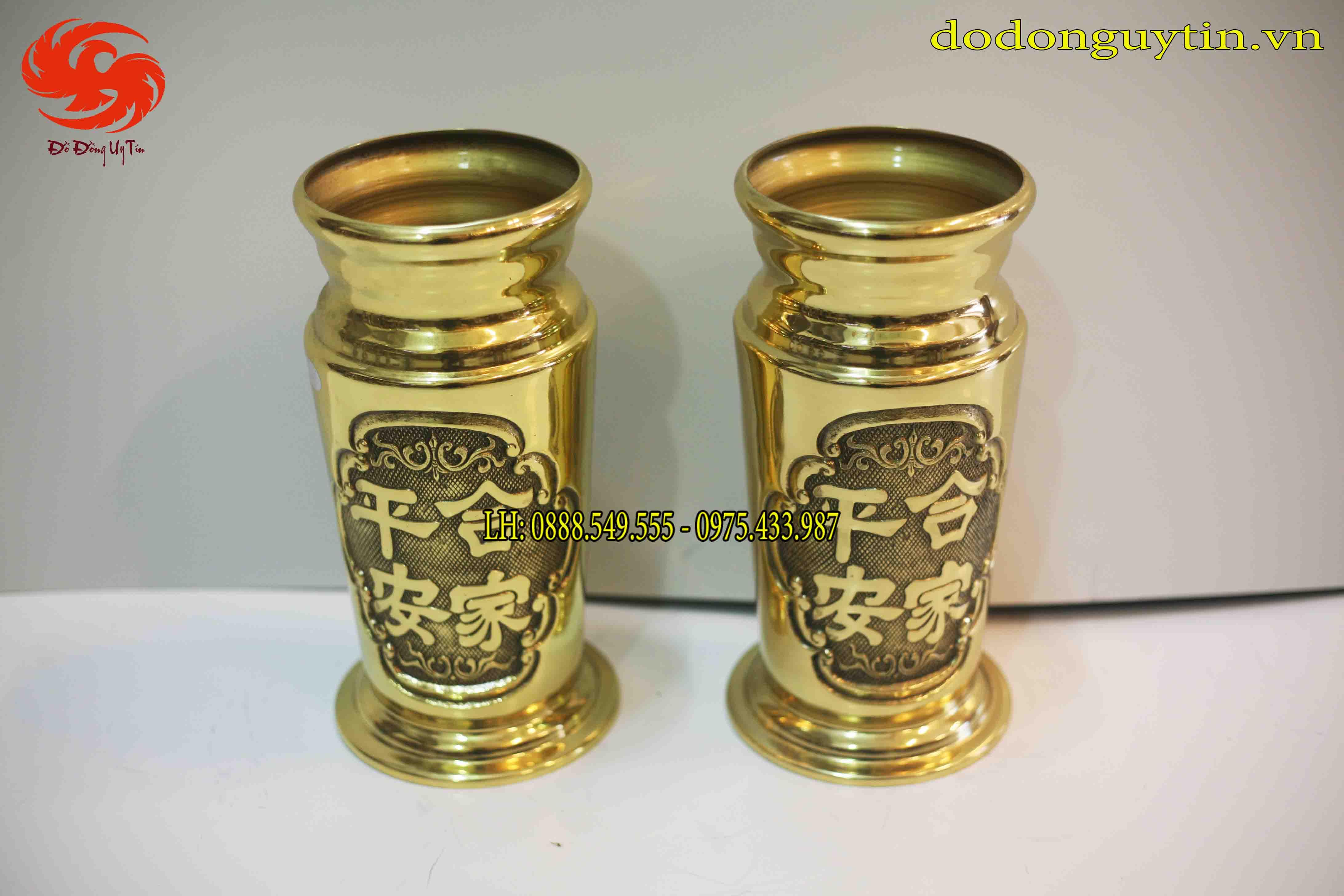 Đôi ống hương bằng đồng hợp gia bình an cao 30 cm