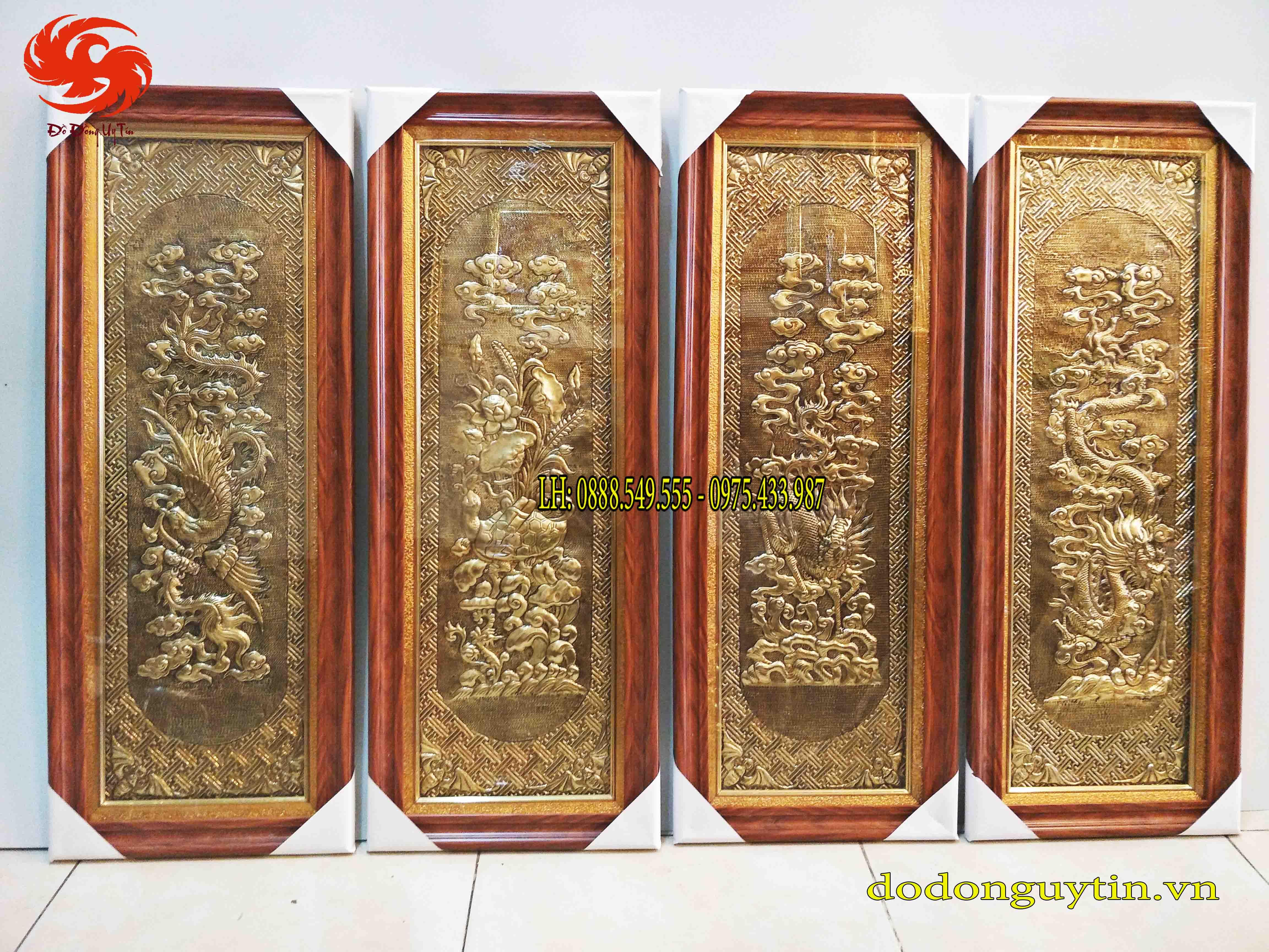 Bộ tranh đồng tứ quý đồng vàng - Đồ đồng Hoài Ánh