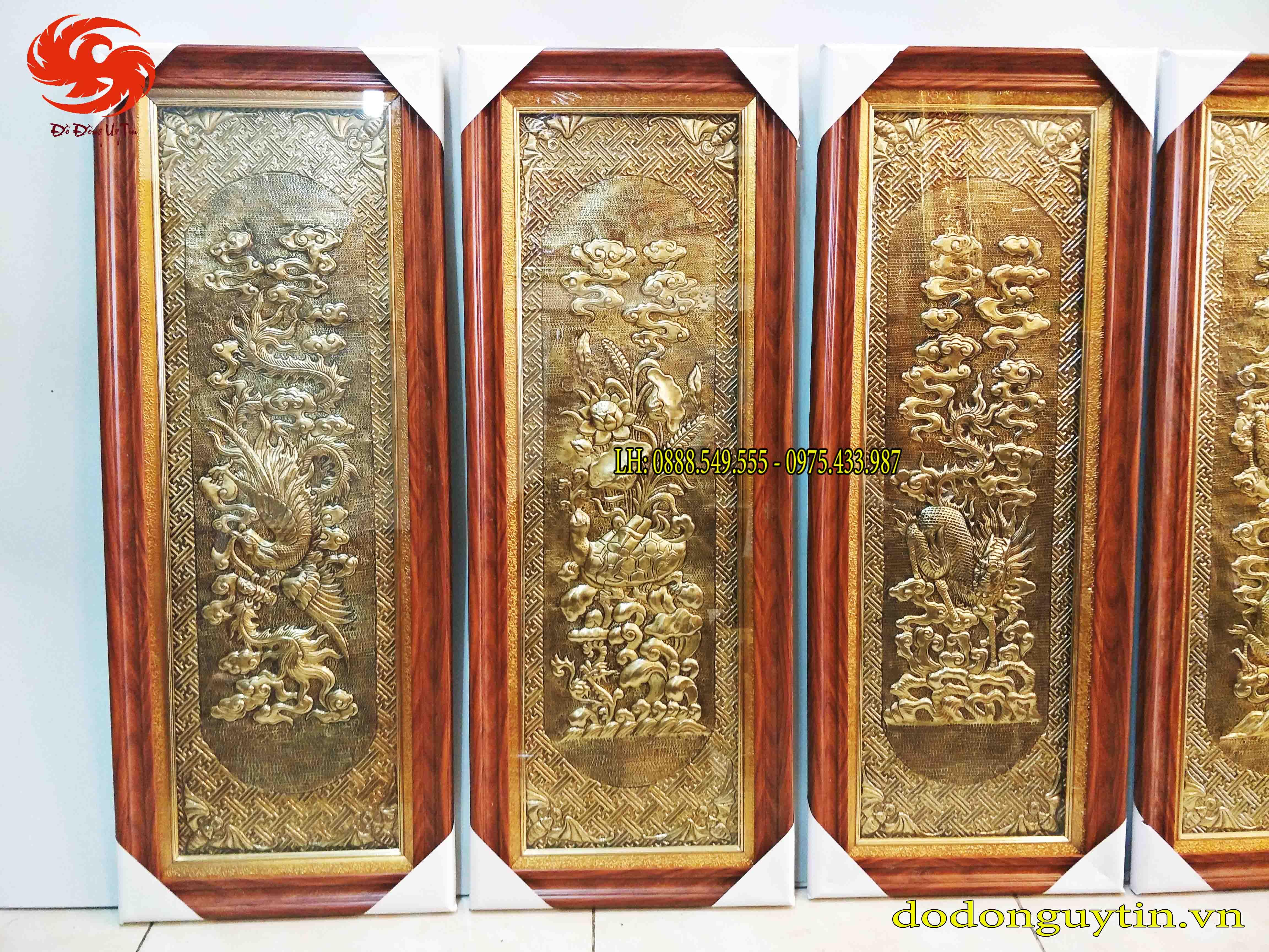 Tranh đồng Tứ linh đồng vàng giả cổ 40cm x 1m00