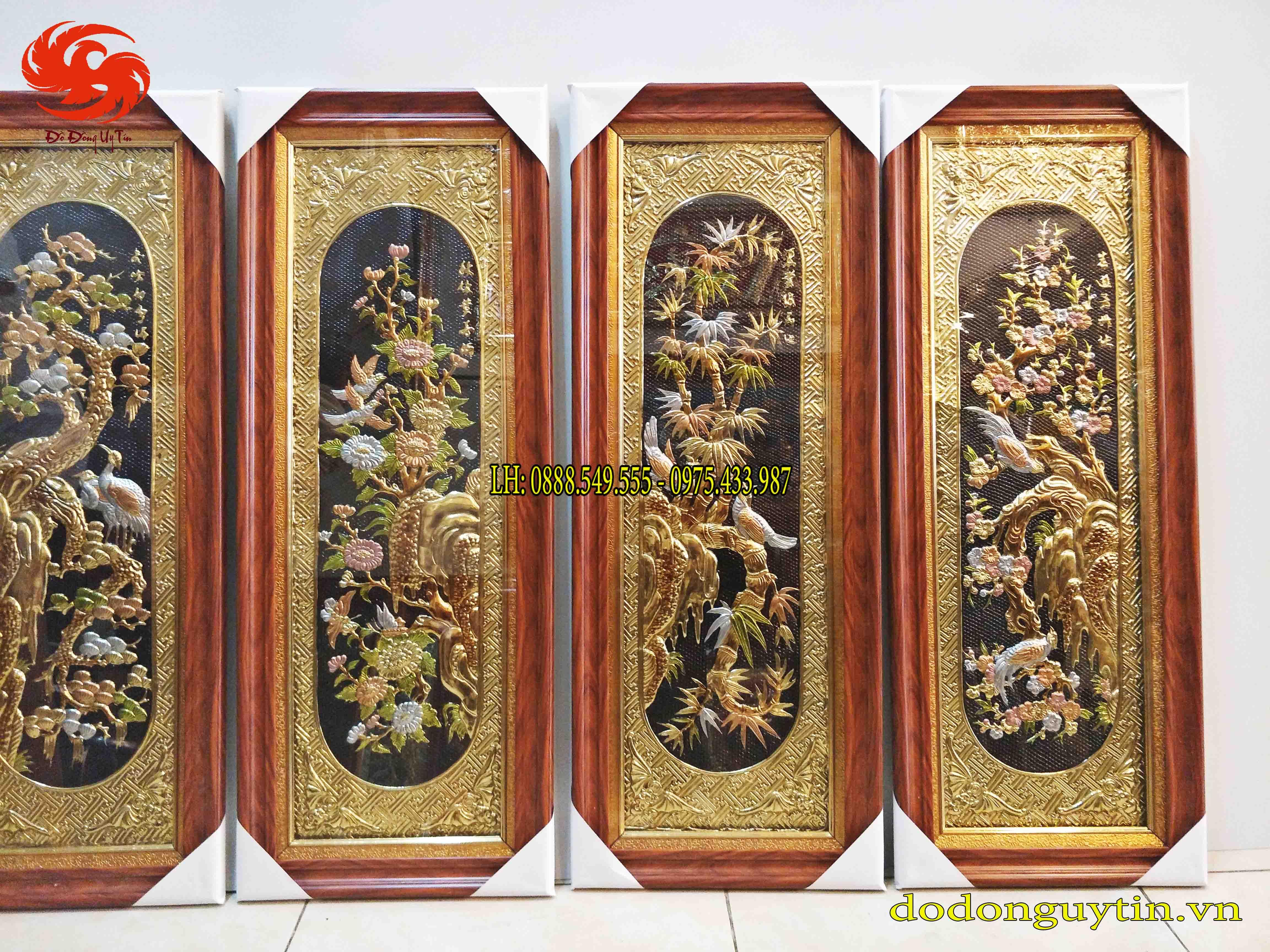 Tranh đồng tứ quý khung Đài Loan giả gỗ 40cm x 1m00