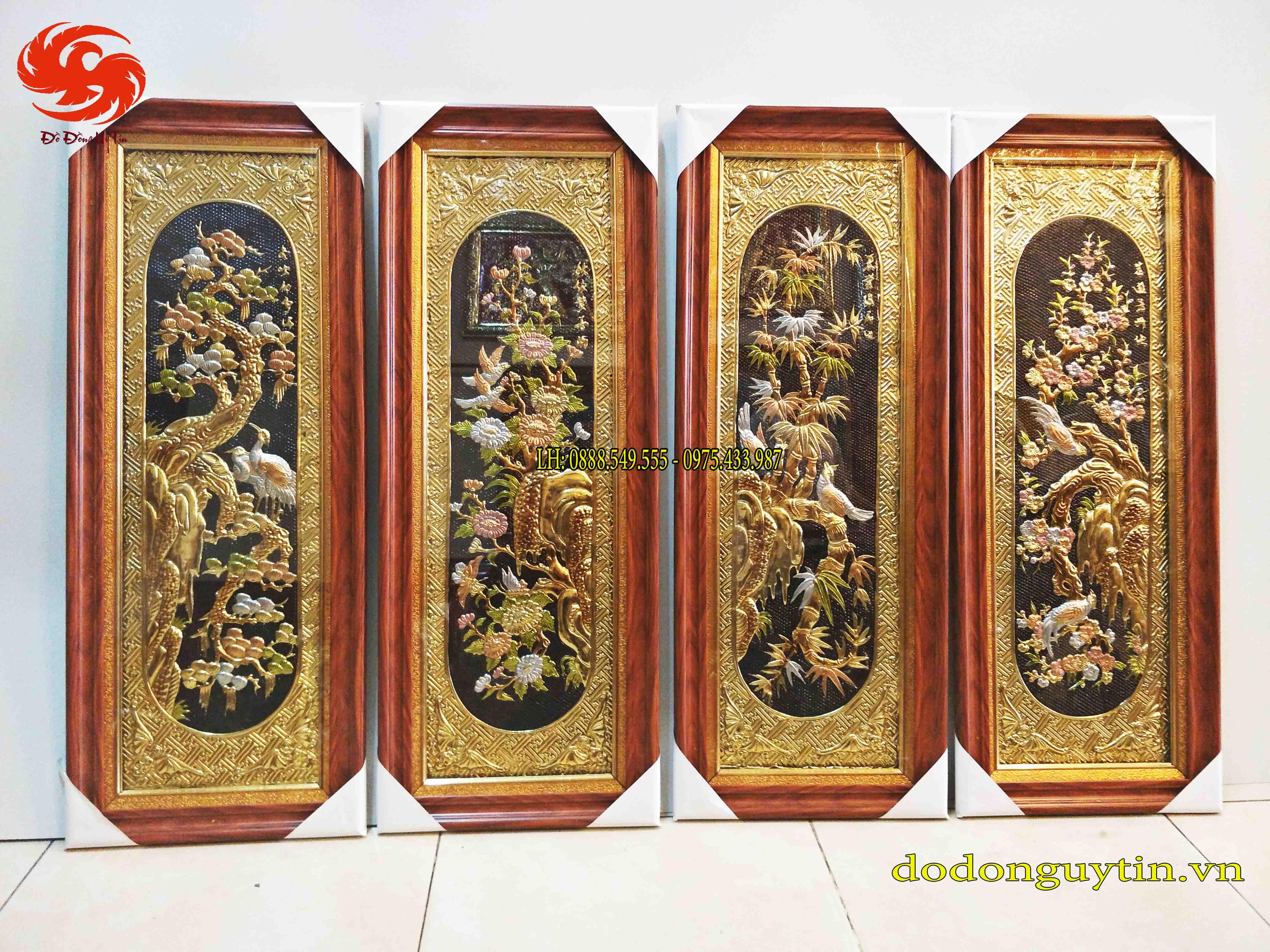 Tranh đồng tứ quý đồng vàng tinh xảo - Đồ đồng uy tín