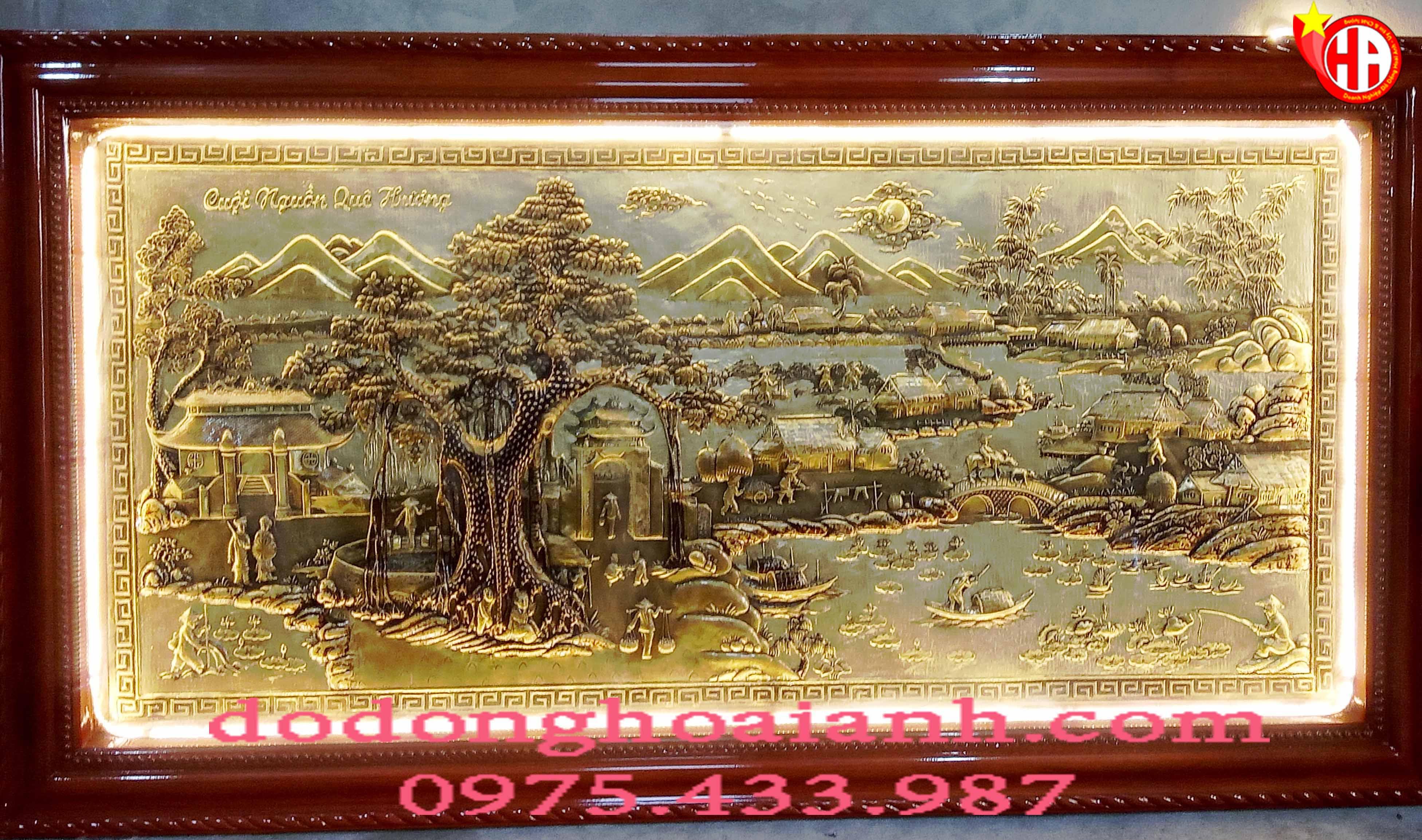 Tranh đồng cội nguồn quê hương đồng vàng giả cổ khung xoắn