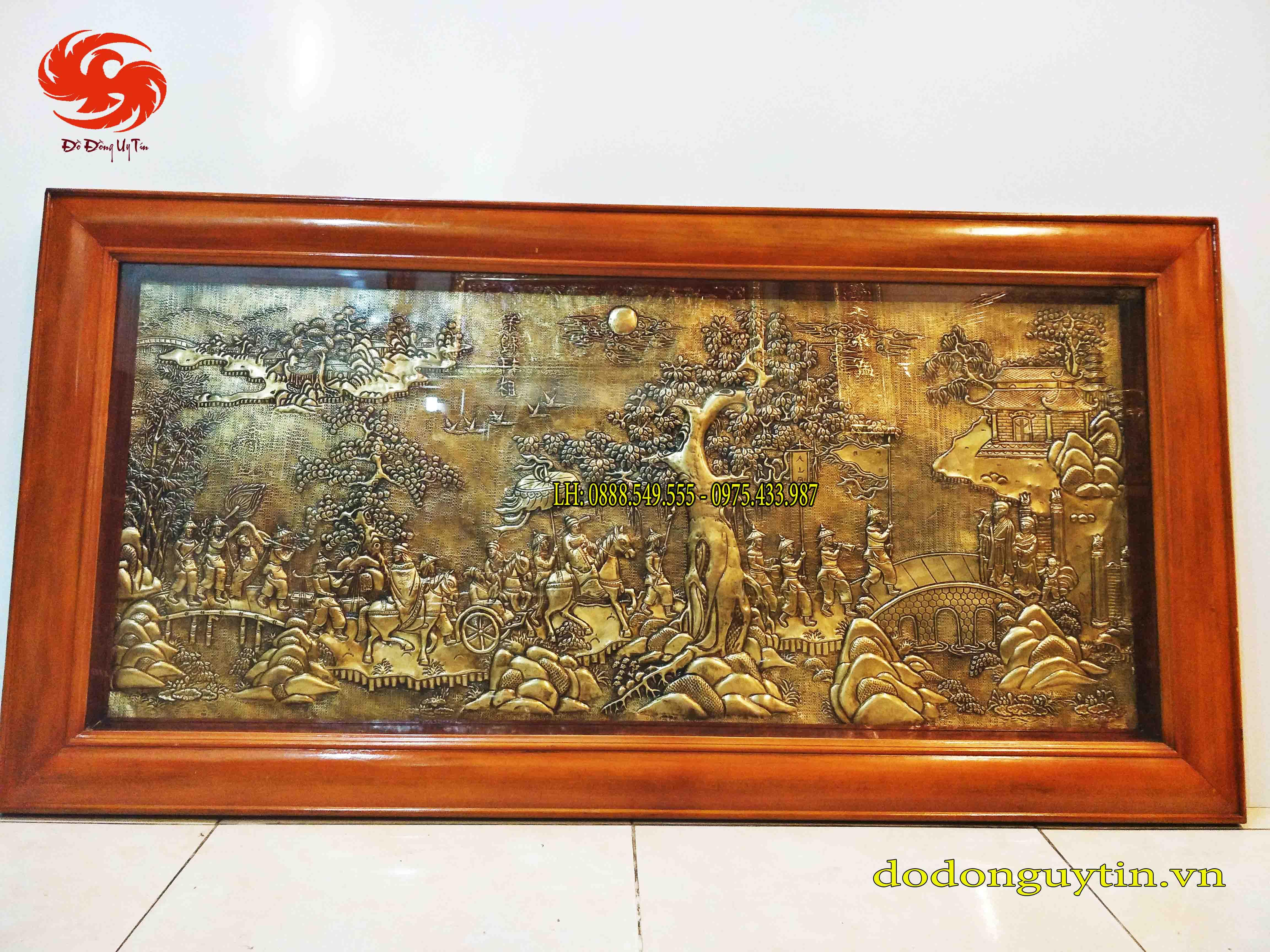 Tranh đồng Vinh quy bái tổ đồng vàng 90cm x 1m70