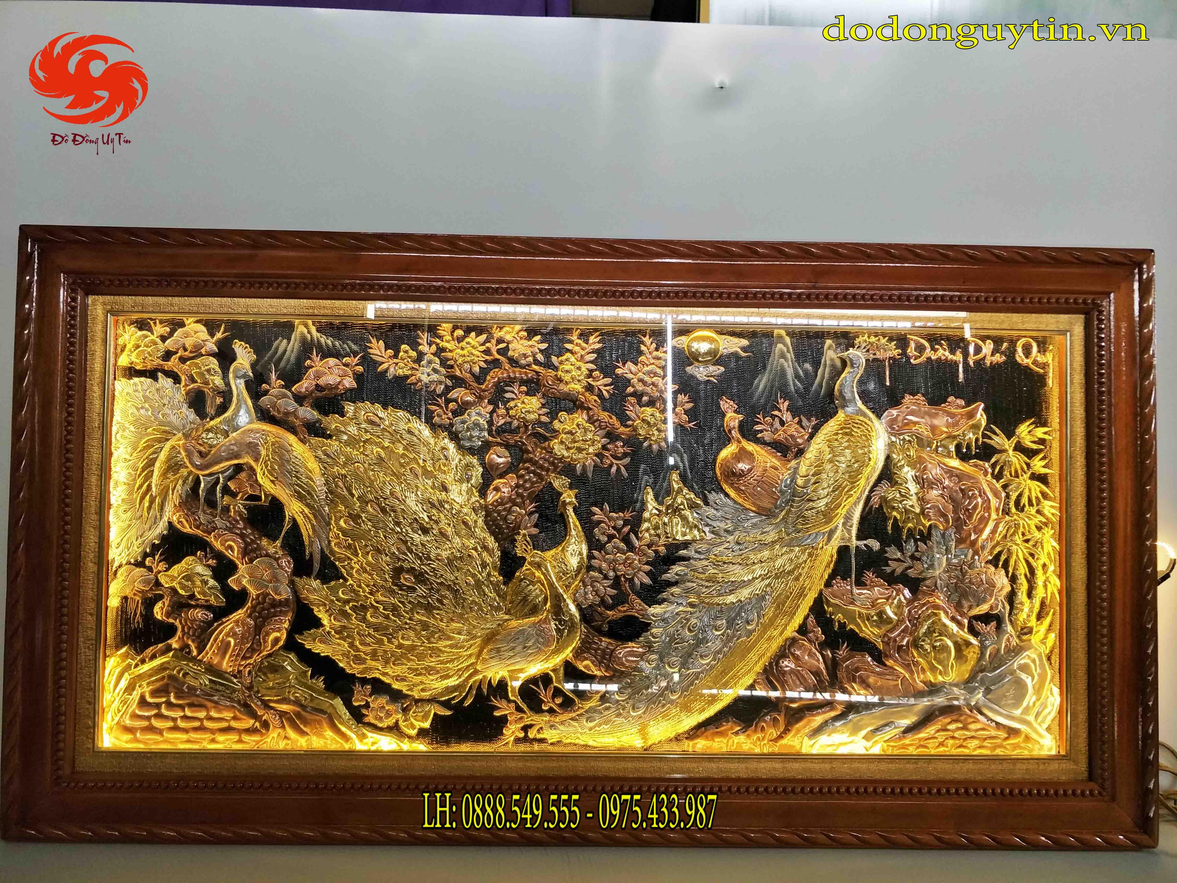 Tranh đồng công mai Ngọc đường phú quý dát vàng tinh xảo