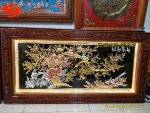 Tranh đồng Vinh hoa phú quý khung gỗ trò chỉ đục tứ quý tinh xảo, chất lượng