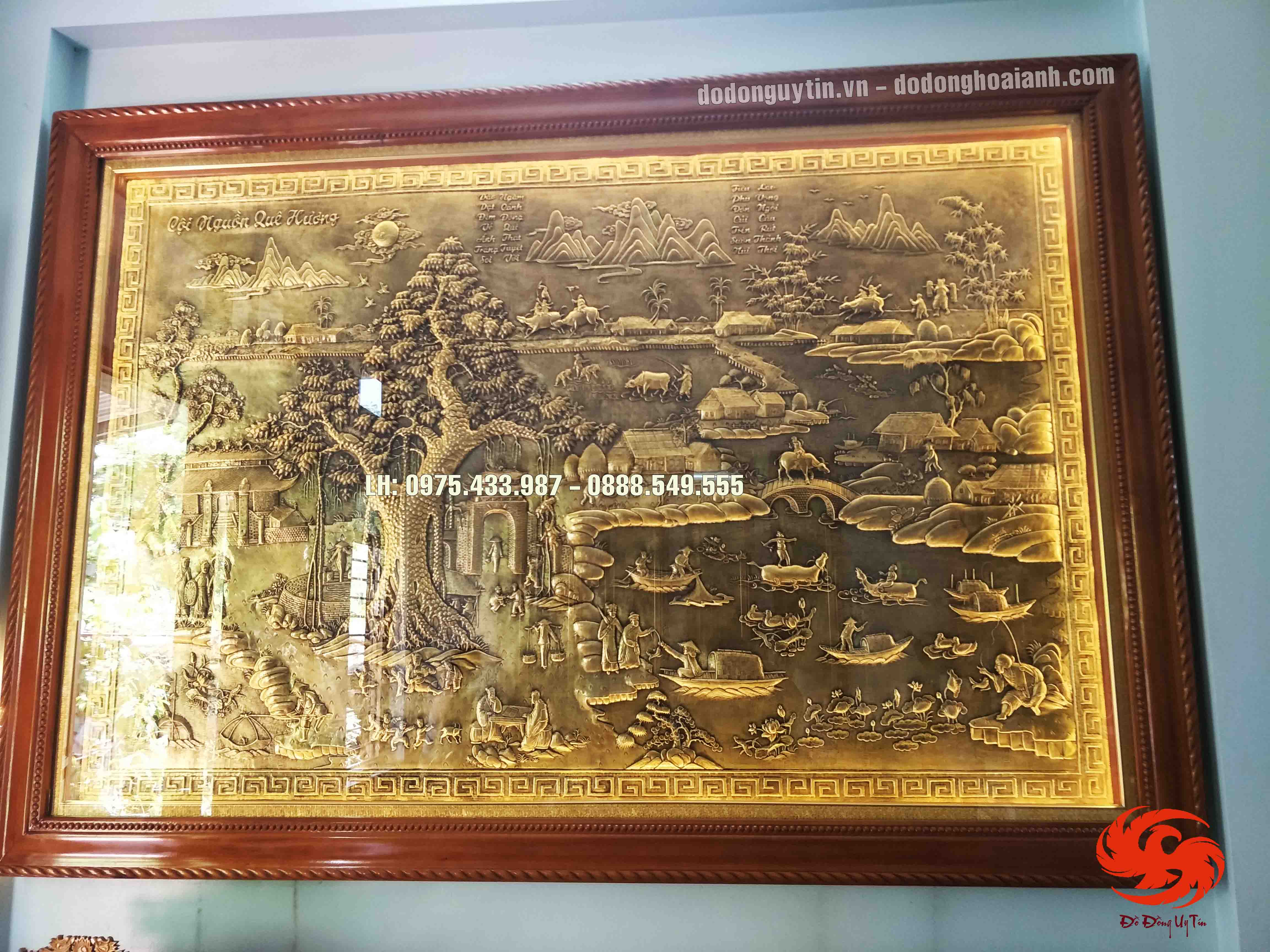 Tranh đồng cội nguồn quê hương 1m97 x 2m83 đồng vàng giả cổ tinh xảo