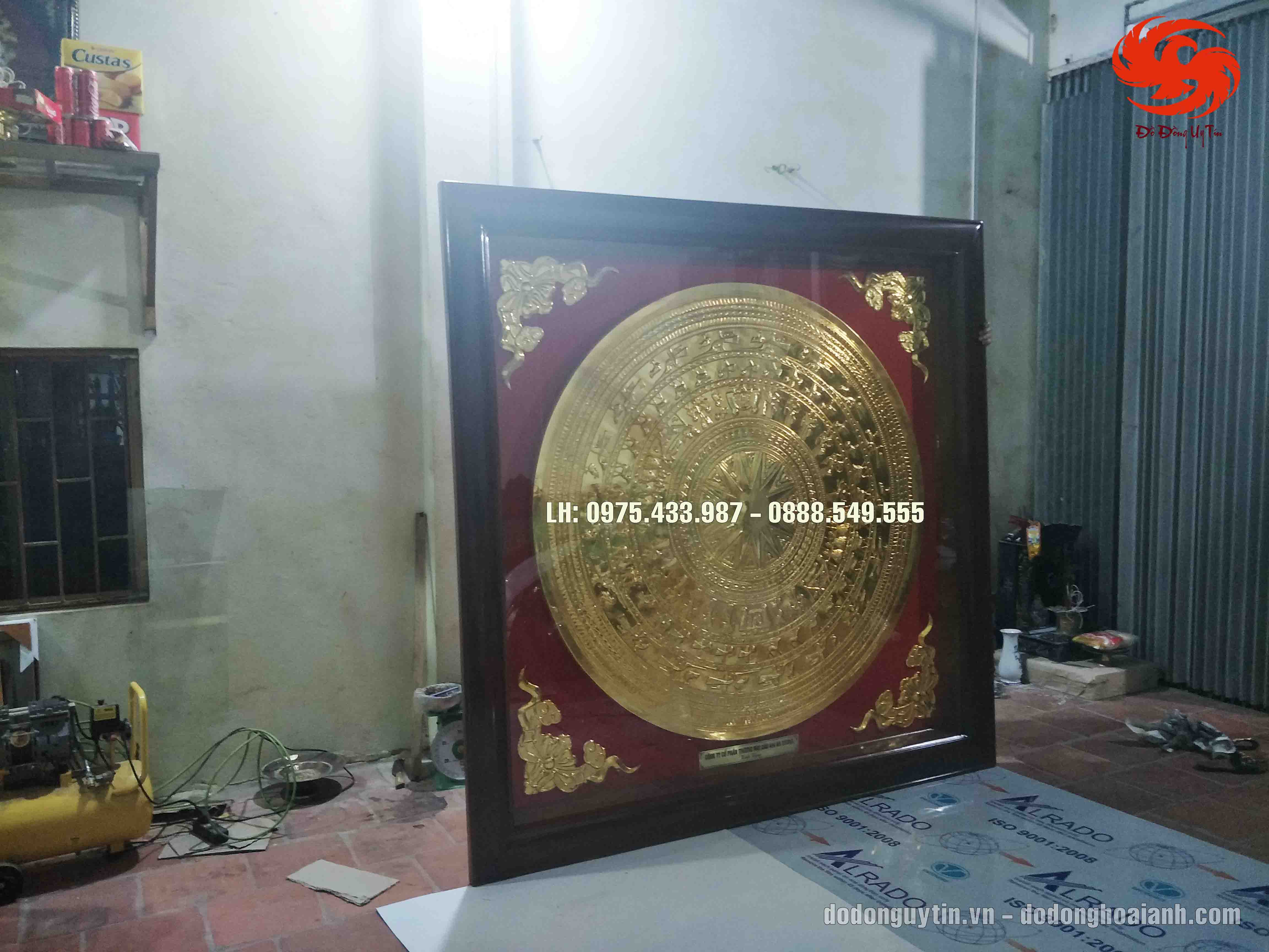tranh trống đồng mạ vàng tinh xảo - Đồ đồng Uy tín