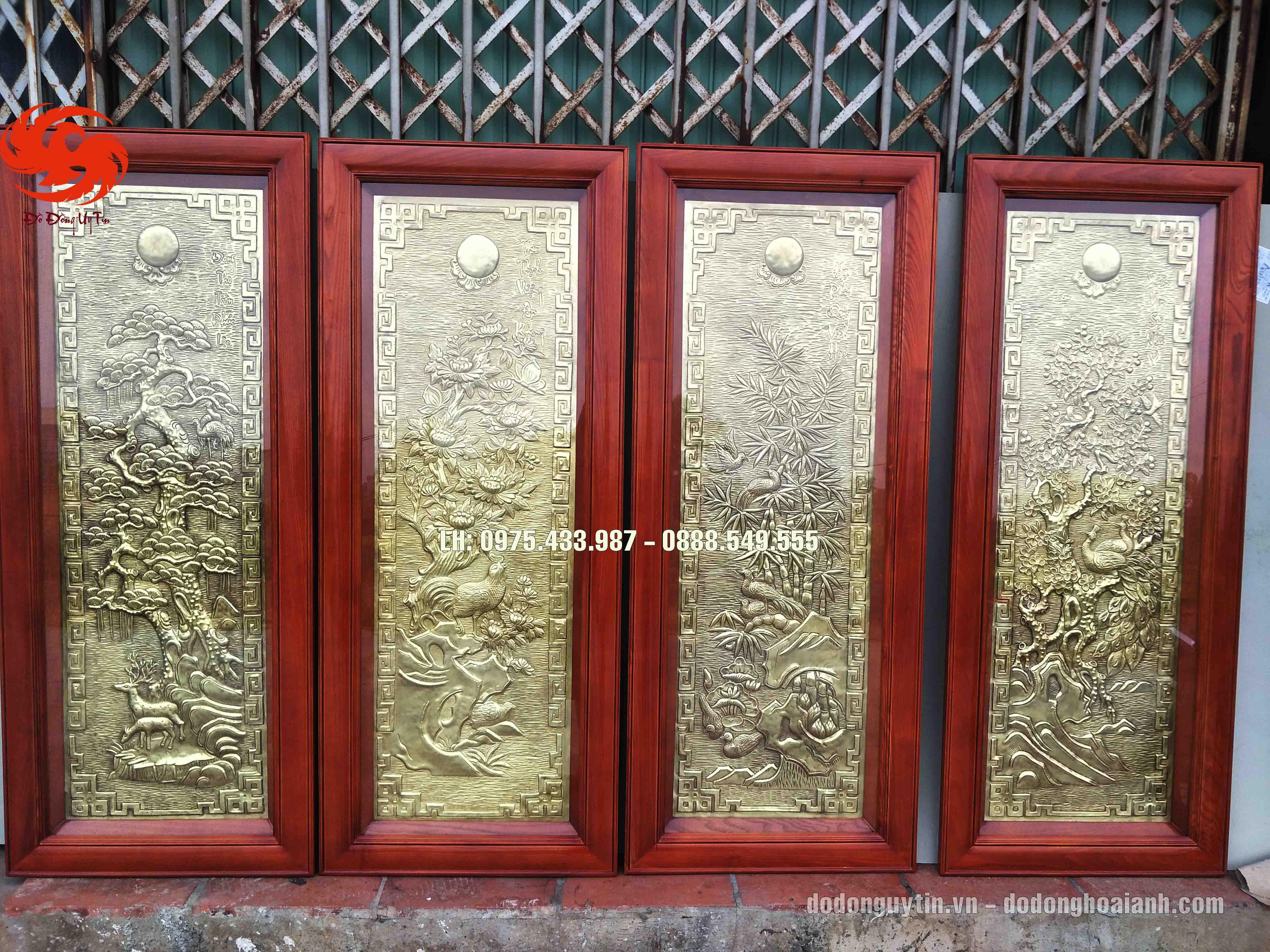 Bộ tranh đồng Tứ quý Tùng Cúc Trúc Mai đồng vàng giả cổ tinh xảo, chất lượng