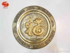 Mâm đồng chữ Phúc rồng dát vàng tinh xảo - Đồ đồng Uy tín