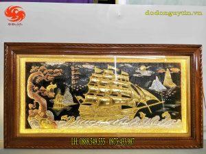 Tranh đồng thuận buồm xuôi gió dát vàng cao cấp nền đen