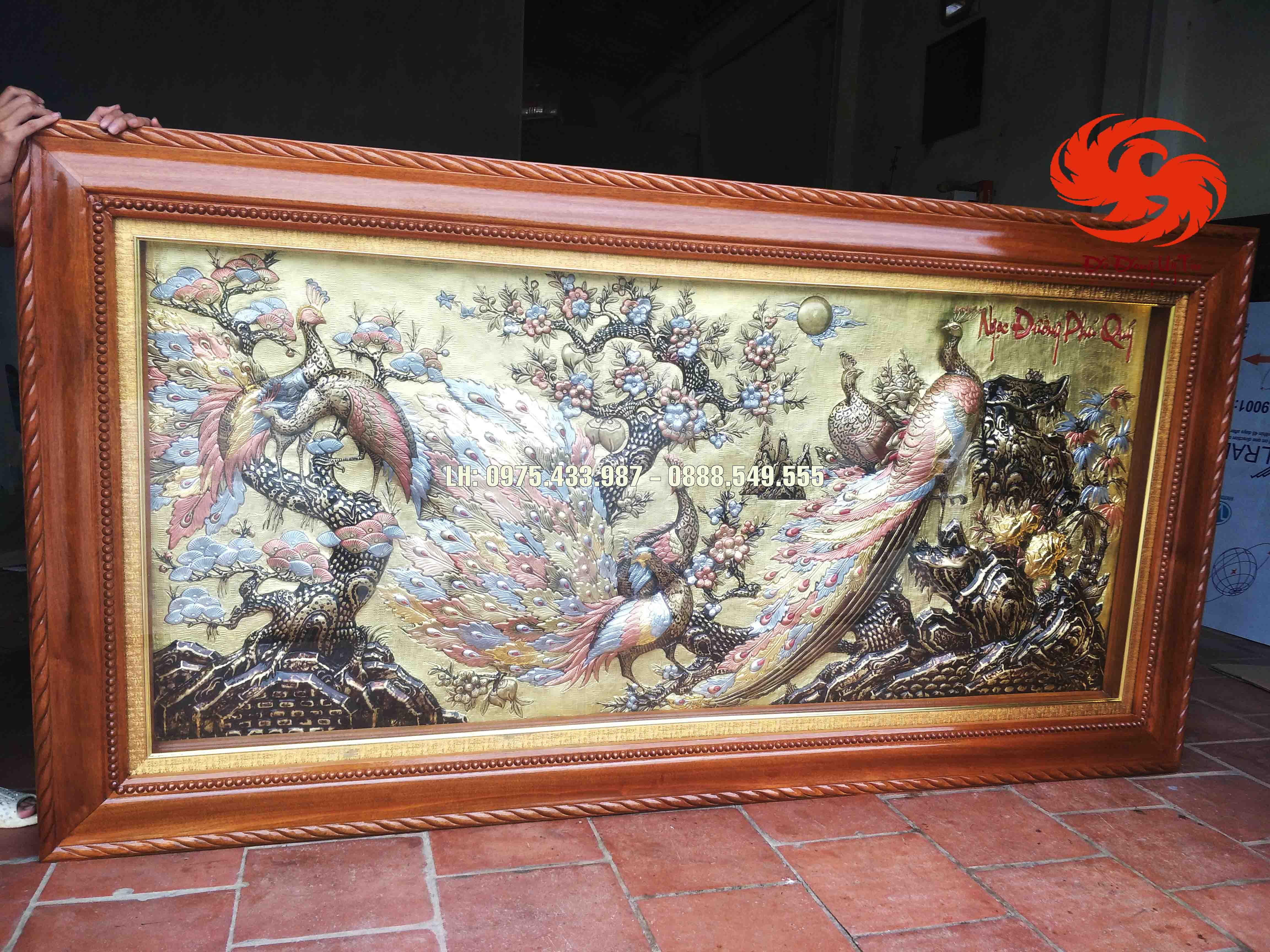 Tranh đồng Công mai - Ngọc đường phú quý dát vàng 1m27 x 2m37
