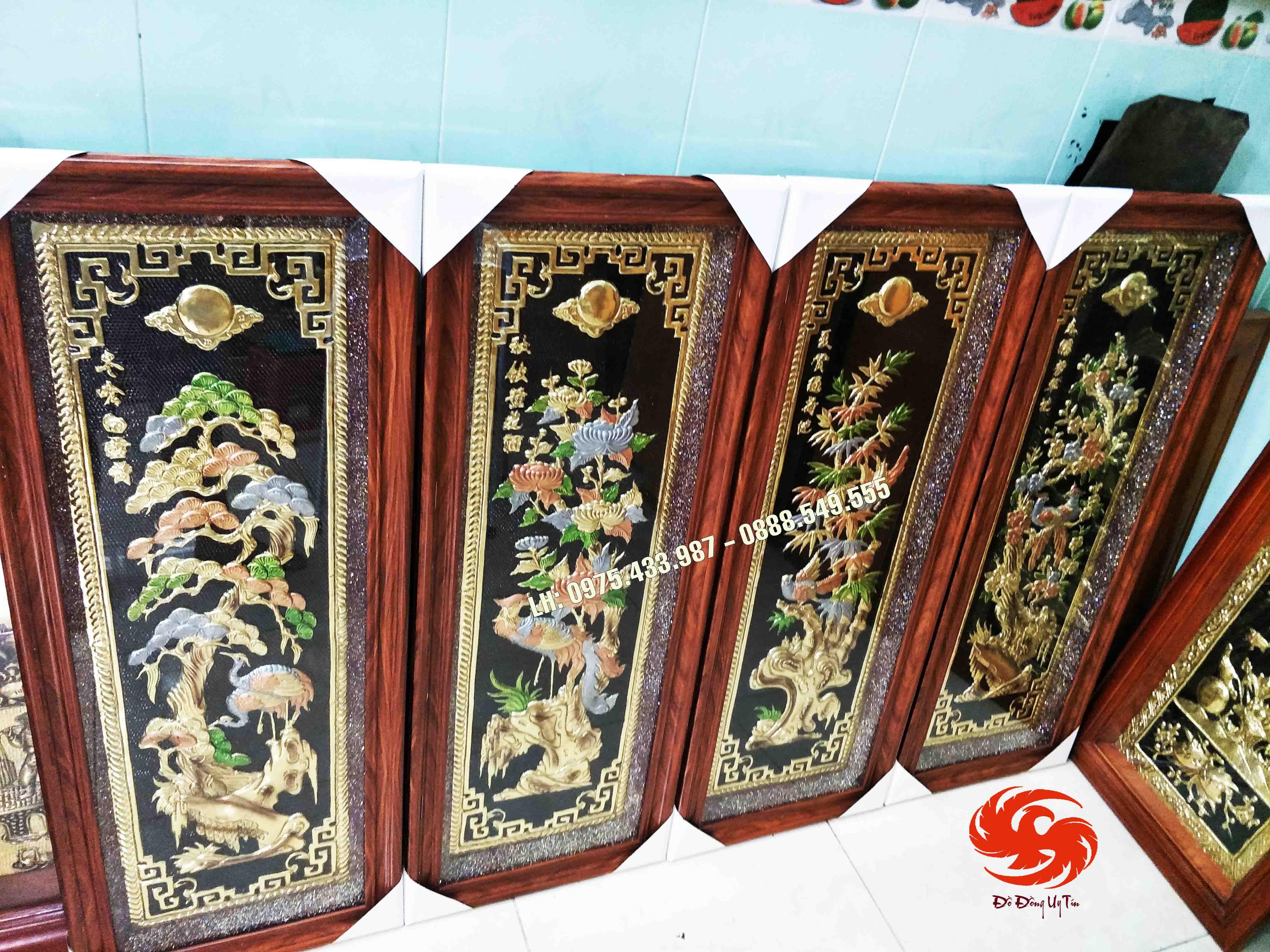 Bộ tranh đồng tứ quý đồng vàng nền đen khung Đài Loan