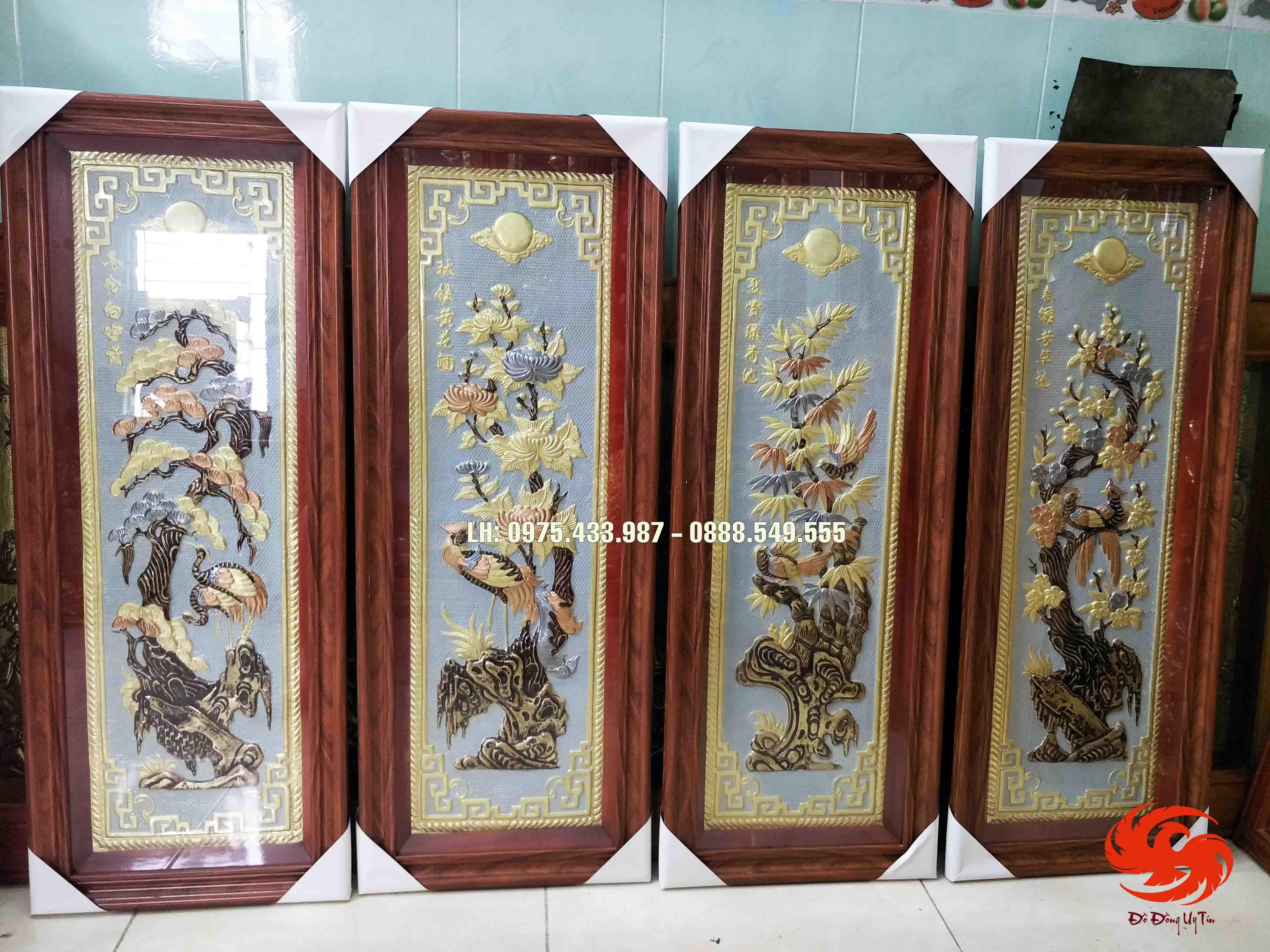 Bộ tranh đồng tứ quý đồng vàng nền trắng khung Đài Loan