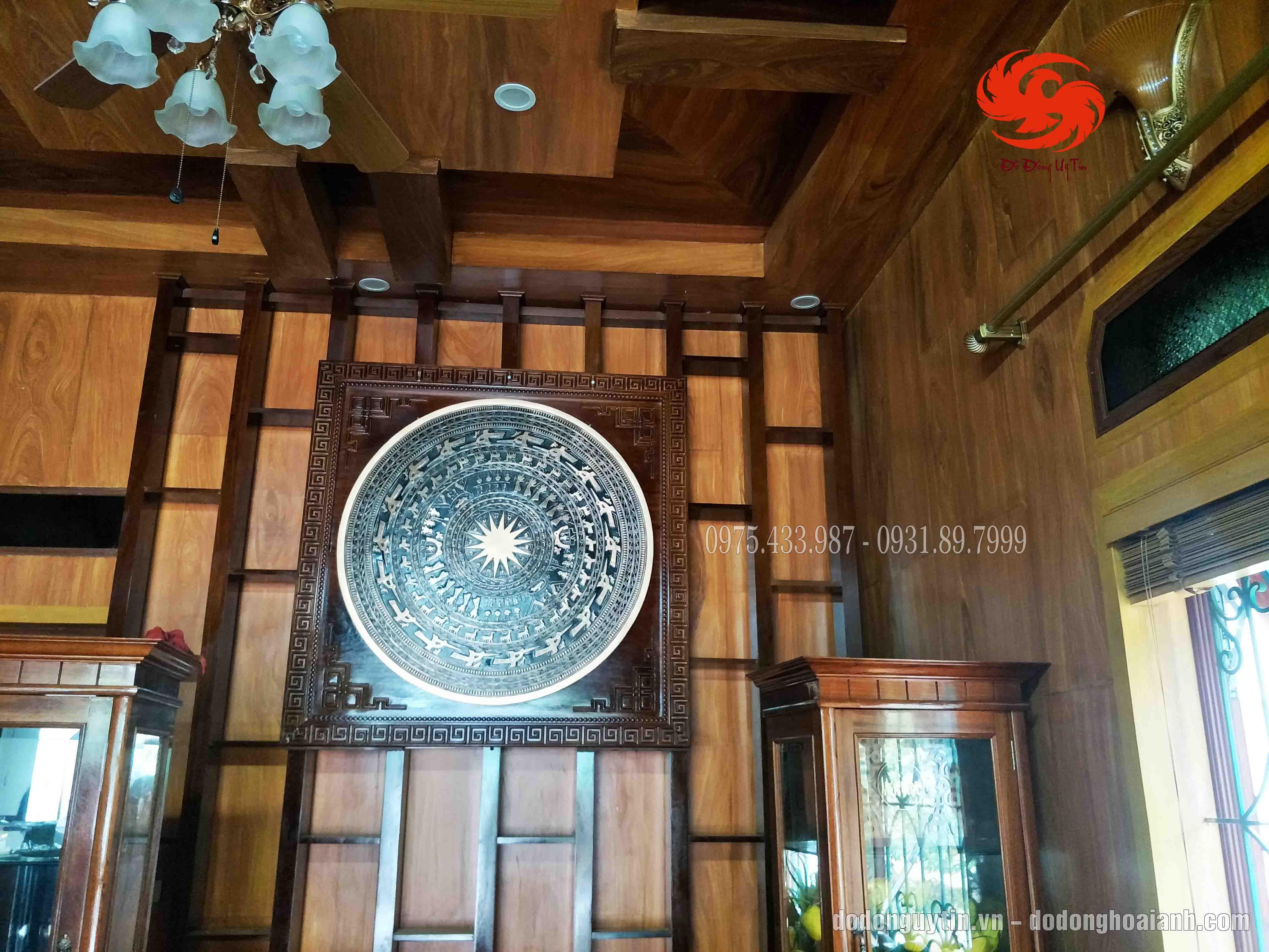 Mặt trống đồng đúc đồng đỏ cao cấp 137cm x 137cm