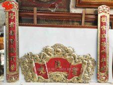 Bộ cuốn thư đồng vàng nhập khẩu tinh xảo 1m76. Đồ đồng hoài ánh