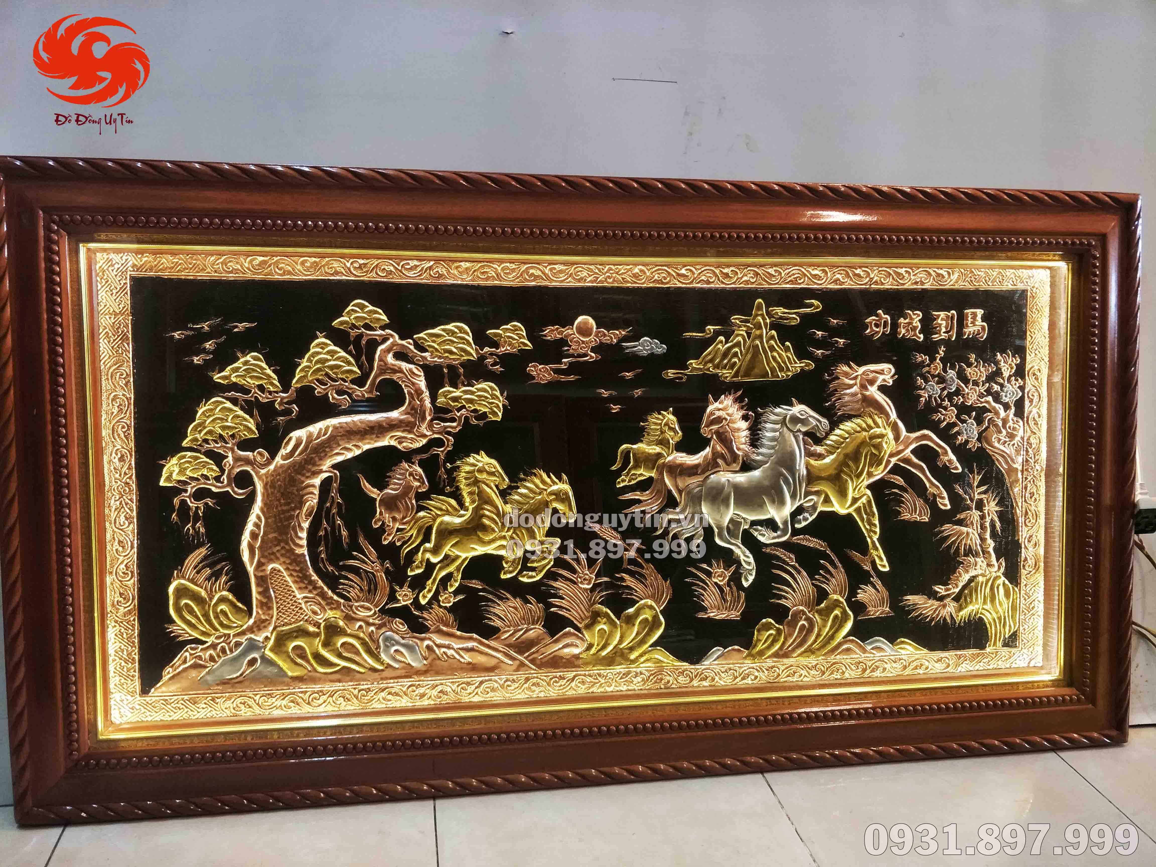 Bức tranh đồng mã đáo thành công dát vàng cao cấp.