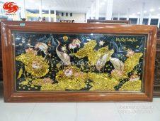 Bức tranh đồng sen hạc phú quý trường xuân