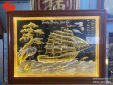 Tranh đồng Thuận Buồm Xuôi Gió dát vàng đẹp