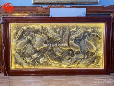 Tranh đồng sen hạc đồng vàng nhập khẩu