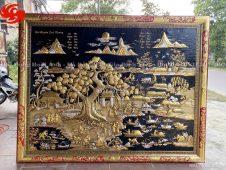 Tranh đồng quê khung bọc đồng dát vàng